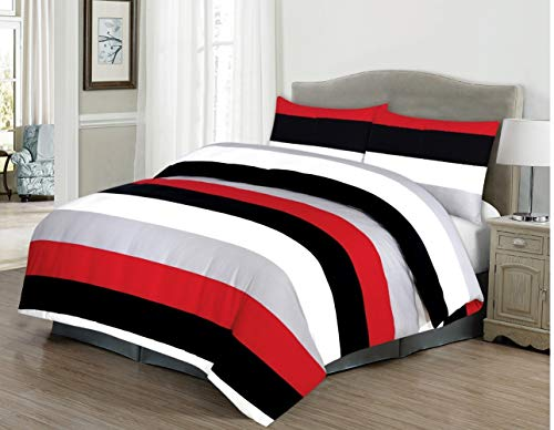 RayyanLinen STRIPES WHITE GREY BLACK RED PRINTED DUVET COVER BEDDING SET WITH PILLOWCASES (DOUBLE)