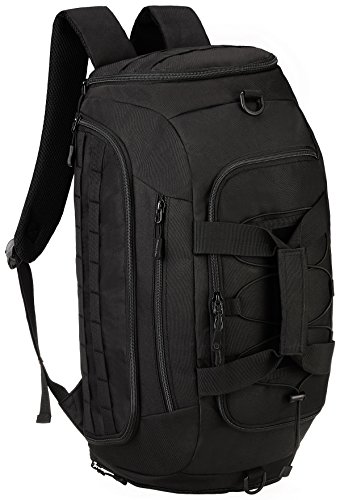 ArcEnCiel Tactical Duffle Bag Men Gym Backpack Large Capacity Military Rucksack Molle Shoulder Bags Shoes Storage Sports Handbag (Black)