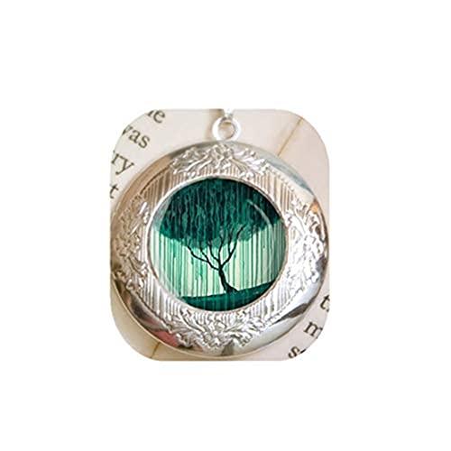 Collar con medallón de sauce llanto – medallón de plata – medallón de árbol – joyería de árbol – arte portátil con cadena de plata