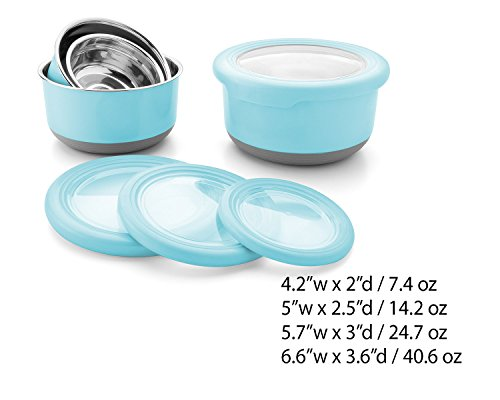 Leak Proof Lunch Box Set – 4 Pack Nesting Stainless Steel Metal Storage Food Containers for Adult or Kids – BPA Toxin Free for Work or Healthy School Lunches.Transparent Lid and Silicone Grip Base