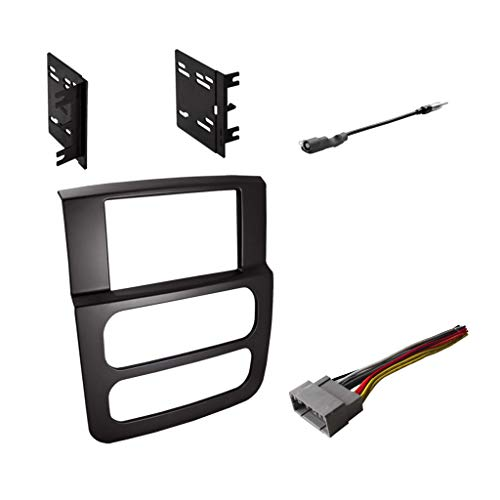 Double DIN Radio Dash Kit with Antenna Adapter & Harness for 2002-2005 Dodge RAM 1500 2500 3500