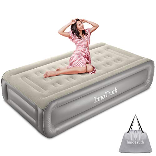 Queen Air Mattress With 120V AC Built-In Pump For Guest, Inflatable Raised Air Bed With Comfortable Top, Elevated Foldable & Portable Airbed With Durable Carrying Bag For Camping, 80×60×18 Inch
