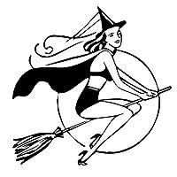 面白いステッカー 女性は、魔女の帽子面白いシルエットデカールビニール車のステッカー車のスタイリング15cmx15cmを身に着けています hnhzhd (Color : Black)