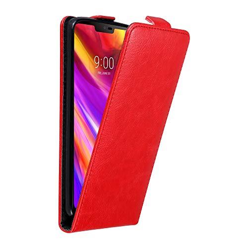 Cadorabo Hülle für LG G7 ThinQ in Apfel ROT - Handyhülle im Flip Design mit unsichtbarem Magnetverschluss - Hülle Cover Schutzhülle Etui Tasche Book Klapp Style