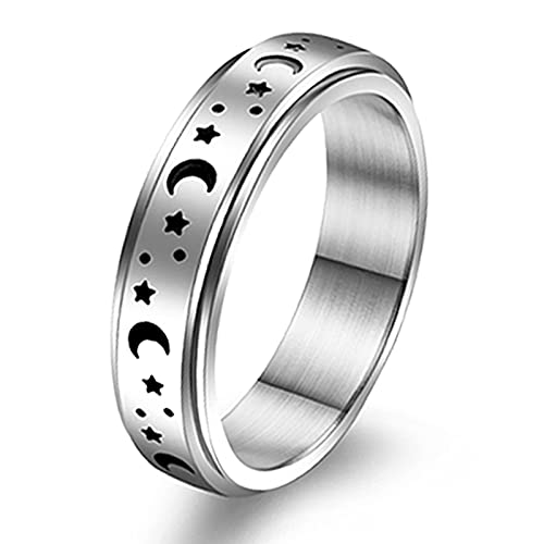 JEWPARK Stainless Steel Fidget Band Rings for Women Mens Cool Spinner Ring Set Sun Moon Star Celtic Ring Stress Relieving Reduce Anxiety Worry Rings XY7