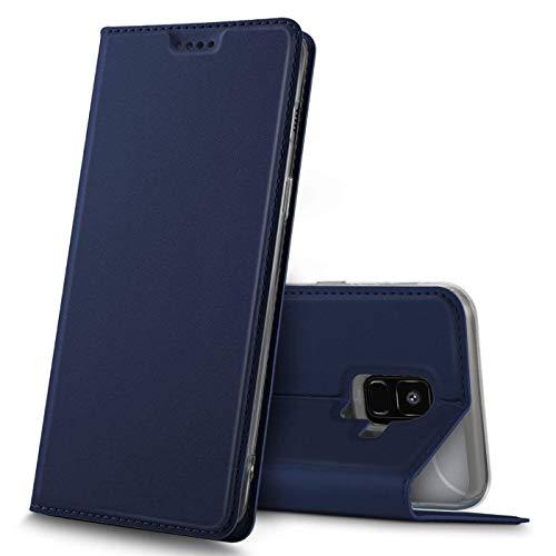Verco Handyhülle für Galaxy A6, Premium Handy Flip Cover für Samsung Galaxy A6 (2018) Hülle [integr. Magnet] Book Hülle PU Leder Tasche, Blau