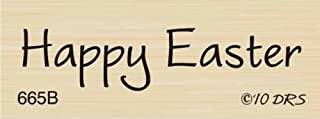 One Line Happy Easter Rubber Stamp By DRS Designs