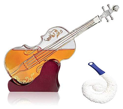 WHZG Decantador de vidrio de vidrio, base de caoba - la decantadora de vidrio sabor de vino para escocés, espíritus, whisky, vino o vodka para los amantes de la música 1000ml