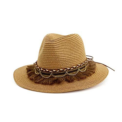 Chengwj heren strohoed zomerhoed dames zonnehoed strandhoed bohemian hoed panama hoed met riem van nappaleder halsketting van goud