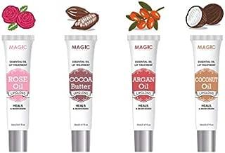 4 Pcs Essencial Oil Lip Treatment Set Rose Oil, Cocoa Butter, Argan Oil, Coconut Oil