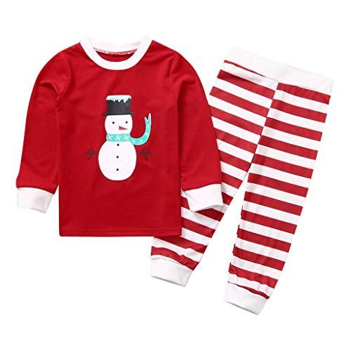 BUKINIE Tenues de noël T-Shirt à Manches Longues pour garçons et Filles Santa Claus T-Shirt à Rayures + Pantalons Longs Leggings Vêtements Ensembles(Rouge,6-7 Années)