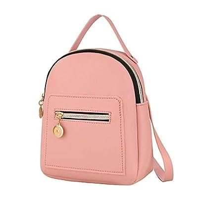 ERIUAES Cute Leather Backpack Mini Daypacks Convertible Shoulder Bag Letter Purse Mobile Phone Messenger Bag (Pink)
