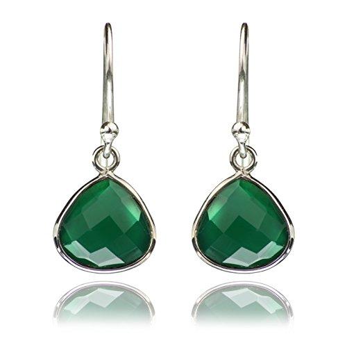 The Jewellery Store London - Pendientes Lágrima De Plata De Ley 925, Sin Níquel Piedra De Ónix Verde Auténtica