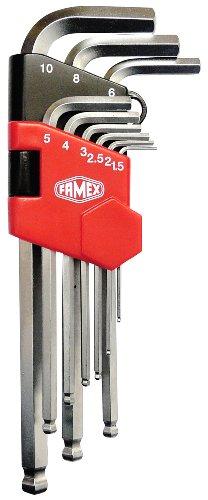 Famex Werkzeug 10784 - Juego de llaves acodadas para destornilladores con interior hexagonal (tamaño largo, punta de bola, 1,5-10 mm, 9 piezas)