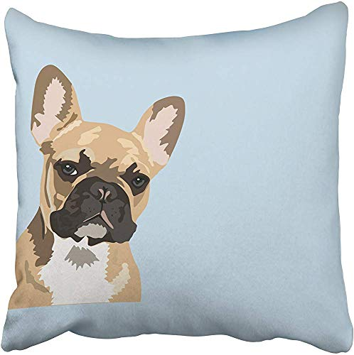 Fhdang Decor Pillowcover French Bulldog Cute Frenchie Double Sided Lumbar Pillow Throw Pillow Cover Home Decorative Cushion Case Pillow Case Sofa Bed Car Living Home with Hidden Zippered 16x16 Inch