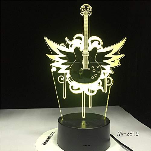 3D Illusion Lampe Musik Gitarre Fly Bass Led Lampe Nachtlampe Für Musiker Hause Tischdekoration Geburtstag Weihnachtsgeschenk Rock Geschenk Dwqerwre