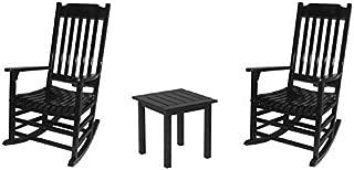 Outdoor Rocking Chair 3 Piece Set, World's Finest - Black