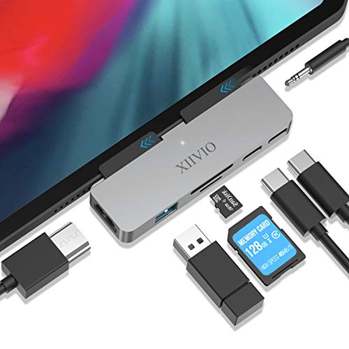 USB C Hub for iPad Pro 2019 2018,XIIVIO 7 in 1 USB Type C to 4K HDMI Adapter with USB 3.0, USB-C PD Charging,SD/TF Card Reader,3.5mm Headphone Jack Compatible with 2019 2018 New iPad Pro 11/12.9