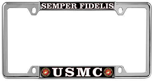 USMC Semper Fidelis (Black & White Text) - Domed Custom-Made Personalized Narrow (Thin) Top 4 Hole Metal Car License Plate Frame with Free caps - Chrome