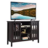 Tangkula Wood TV Stand, Classic Design Storage Console Free Standing Cabinet for TV up to 45', TV Cabinet Media Center Home Living Room Furniture, TV Stand Media Cabinet (Brown)