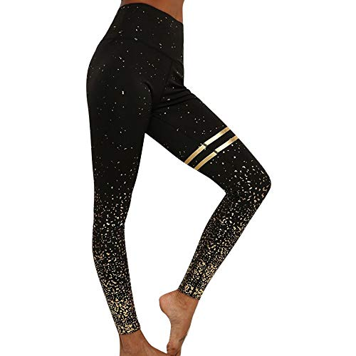 Vertvie Damen Yogahosen Leggings Sporthose Pants Hot Gold Hohe Taille Wellenpunkt Polka Dot Slim Schlank Eng Elastisch Sport Fitness Training Yoga Modisch Basic
