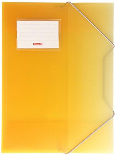 Brunnen 104160410 Sammelmappe FACT!pp (A4, transluzente PP-Folie, mit Gummizug, mit Namensschild) gelb