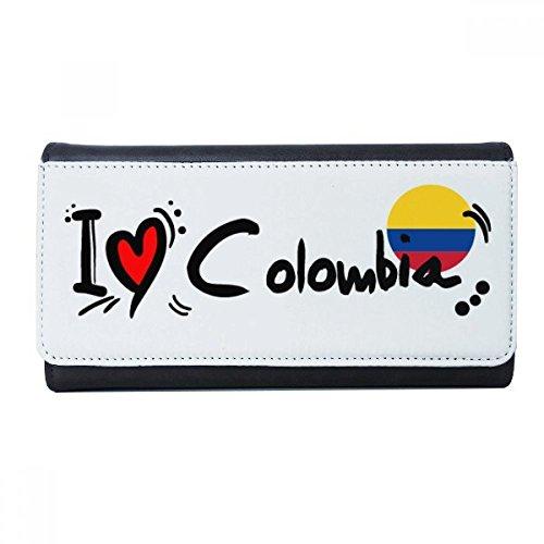 Ik hou van Colombia woord vlag liefde hart illustratie portemonnee rechthoek kaart multi-functie portemonnee geschenken