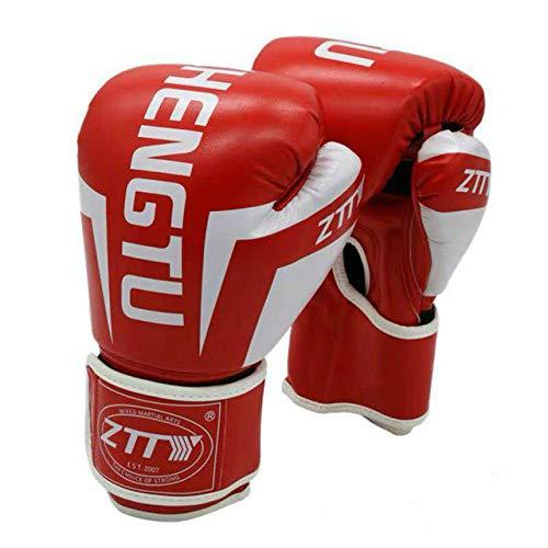 Yxr Kickboxhandschuhe für Männer Frauen PU Karate Muay Thai Guantes De Boxeo Free Fight MMA Sanda Training Erwachsene Kinder Ausrüstung, Rot-Weiß, 226,8 g (8 oz)
