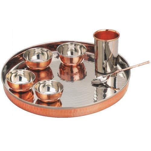 TreegoArt Juego de vajilla de acero de cobre Thali, cuencos, cuchara, cristal, estilo tradicional, 7 piezas, diámetro de Thali, 33 cm