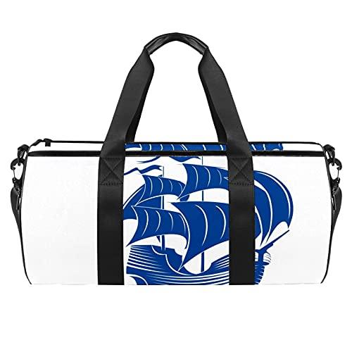 Z&Q YSXin Barca a Vela Blu Borsa da Palestra Sportiva con Tasca e Scomparto Bagnato Impermeabile, Borsone da Viaggio per Uomo e Donna Leggero 45x23x23cm