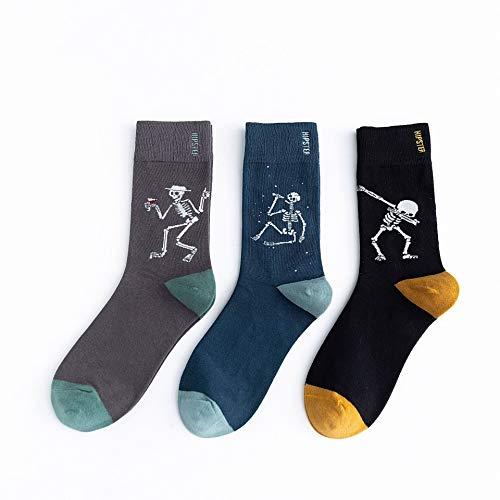 Socken 3 Paar Socken Männer & Frauen Paare Gezeiten Socken Retro kreative Baumwolle Rohr Socken sind Totenkopf codiert