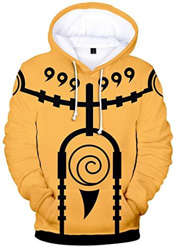Silver Basic Boys Fashion Hoodie 3D Printed Naruto Japanese Anime Lightweight SweatshirtM0832Yellow 3