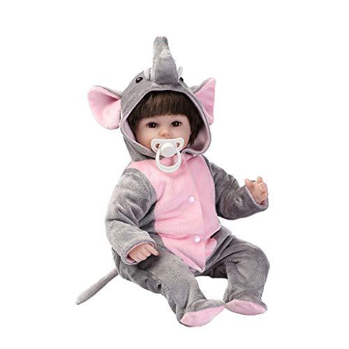 Muñecas renacidas de 40,6 cm para niñas y niños, juguetes de playmate realista, regalos de elefante lindos de nariz larga de vinilo suave para sentarse con capucha traje de muñecas de cuerpo completo
