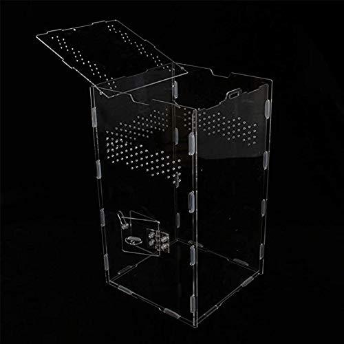 Reptilien Acryl Terrarium Behälterkasten Transparent Reptilienzuchttanks DIY für Eidechsen-Spinnen-Schlange 20 * 20 * 35cm