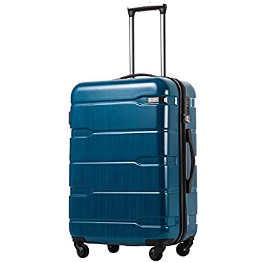 Coolife Luggage Expandable Suitcase PC+ABS Spinner 20in 24in 28in Carry on (Caribbean Blue, L(28in).)