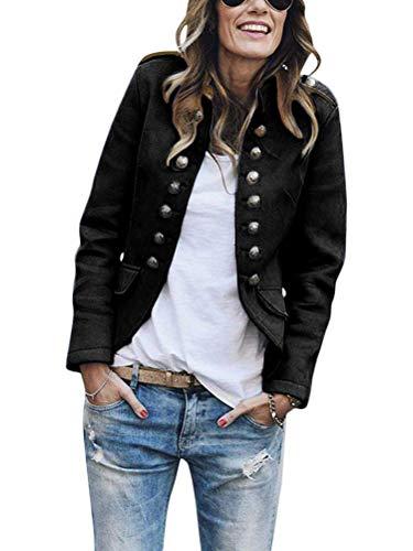 Tomwell Damen Blazer Elegant Anzugjacke Mantel mit Knopfleiste Military Blazer Lang Blazer Slim Fit Blazer Freizeit Stehkragen Business Büro Anzug Jacken Schwarz 40