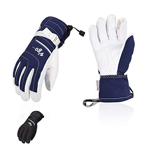 Vgo 2Pairs Touchscreen Goatskin Leather Winter Warm Skiing Gloves, Cold Storage Work Gloves, Waterproof Insert (Black&Blue, Size XL, SF-GA2444FW)