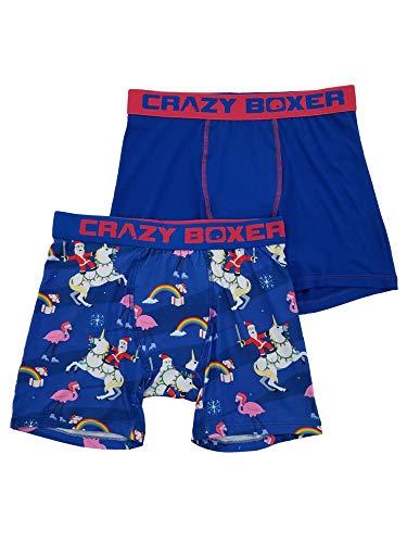 Mens 2-Pack Santa Claus Rainbow Unicorn Pink Flamingo Underwear Boxer Briefs L