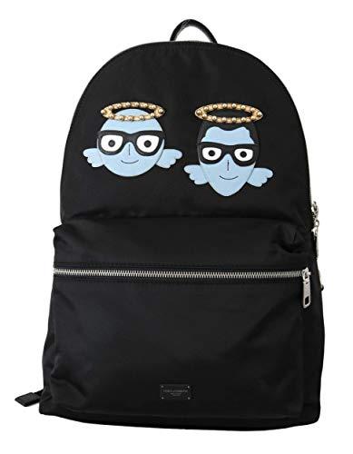 Dolce & Gabbana Herren Tasche Men Bag Black Men Patch Studs Casual School Nylon Backpack