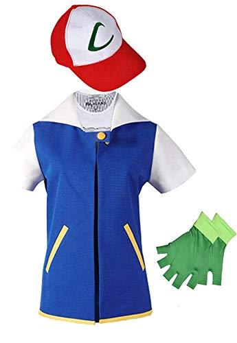 Adult Kids Ash Ketchum Cosplay Costume Jacket Gloves Hat Set Trainer Halloween Hoodie (L) Blue