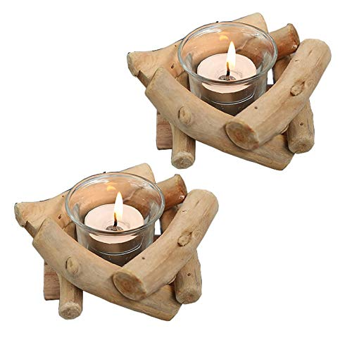 Sziqiqi Handmade Wooden Tea Light Candle Holder with Glass Cup Rustic Country Coastal Style for Farmhouse Home Decoration Home Altar Decoration Holoday Wedding Decoration Pack of 2