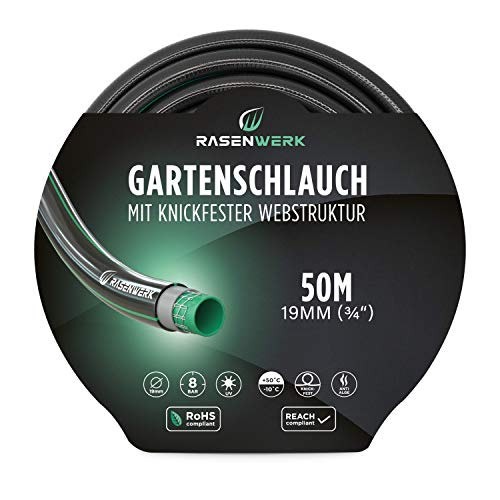 RASENWERK® - Gartenschlauch mit knickfester Webstruktur - Formstabil und flexibel - Gewebeschlauch - Wasserschlauch - Schlauch mit 24 bar Berstdruck - 3/4 Zoll 50m