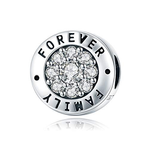 LaMenars Forever Family - Abalorio de plata de ley 925 compatible con pulseras y collares Pandora, Chamilia y Europa