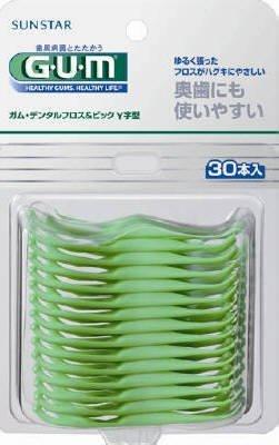サンスター GUM デンタルフロス&ピック Y字型 30本入×60点セット (4901616215054)