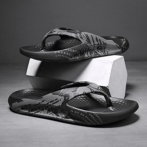 Yumanluo Hombre Verano Zapatillas Flip Flops Sandal Zapatos de Playa y Piscina,Sandalias y Pantuflas de Ocio de Playa-Negro_38
