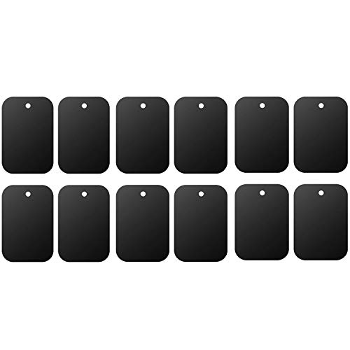 Mount Metal Plate(12Pack) for Magnetic Car Mount Phone Holder with Full Adhesive for Phone Magnet, Magnetic Mount, Car Mount Magnet-12X Rectangular (Black)