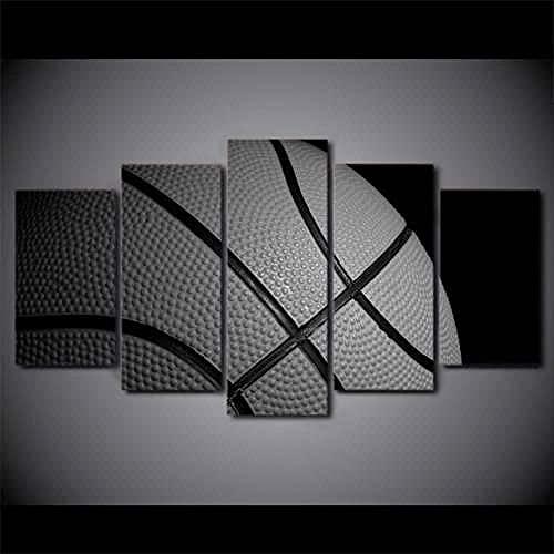KSFBHC 5 Pezzi di Arte della Parete Quadro su Tela Stampa su Tela Moderna 5 Pezzi Quadro su Tela 5 Pezzi Canvas Print Basketball Wall Art Quadri Moderni Soggiorno Quadri Cucina Quadri Camera da Letto