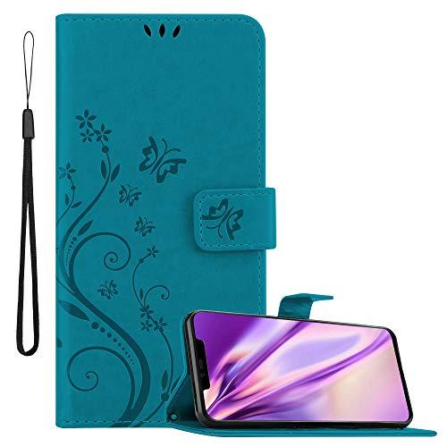 Cadorabo Hülle für Huawei Mate 20 PRO in FLORAL BLAU Handyhülle im Blumen Design mit Magnetverschluss, Standfunktion & 3 Kartenfächern Hülle Cover Schutzhülle Etui Tasche