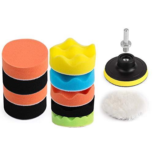THIKPO 12Pcs 3inch Buffing Pads Polishing Pads with Hook & Loop, Car Buffer Polisher Kit, Sponge Pad Kit for Car Auto Polish