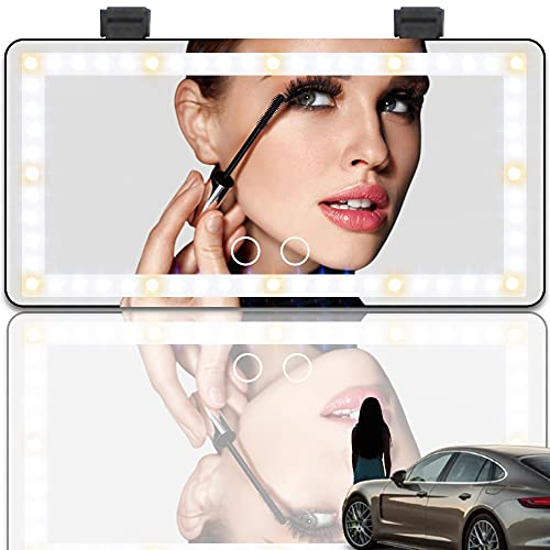 Car Makeup Mirror Car Visor Vanity Mirror with 3 Color LED Lights USB Charge Touch Screen Dimmable Sun Visor Mirror Portable Lighted Makeup Mirror for Women Lady Girls Driver (Black)